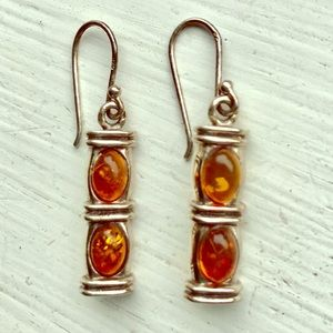 Amber Stone Drop Earrings